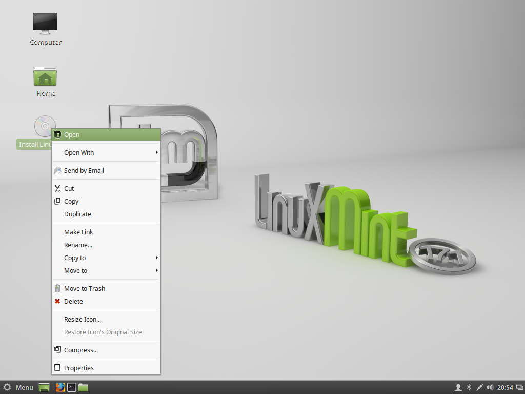 open linux mint installer