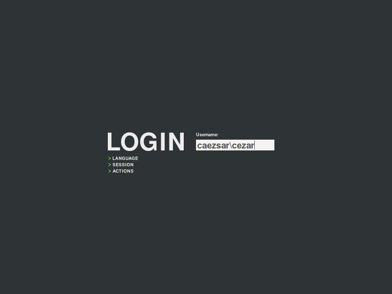 GDM login screen