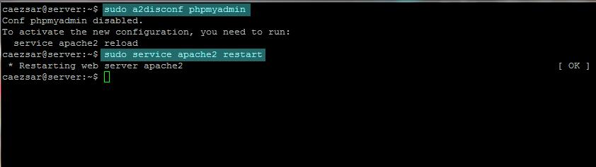disable phpmyadmin configuration