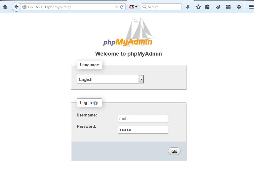 visit phpmyadmin web interface