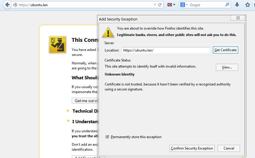 browser certificate warning
