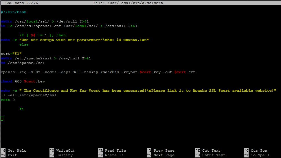 bash script ssl certificate