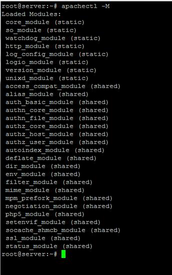 loaded apache modules